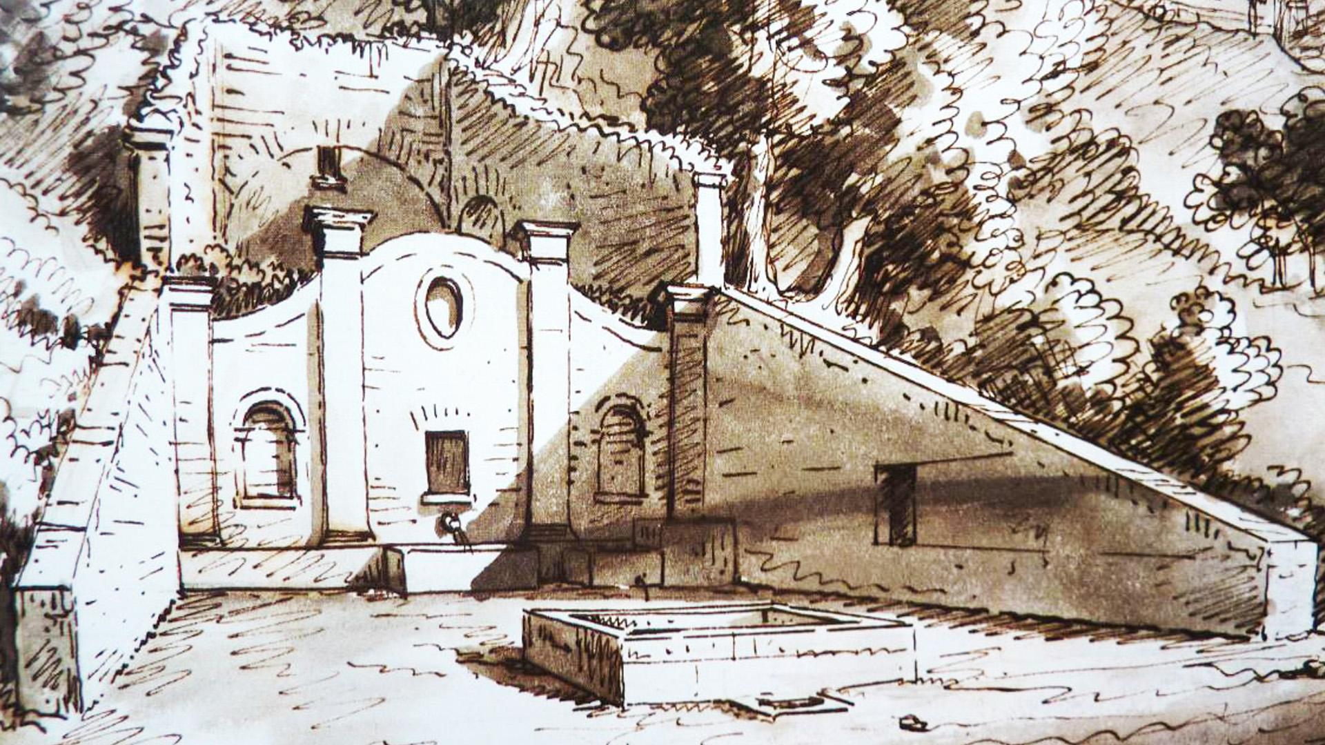 Fonte dei Poeti, collegata a Costanza Monti e Giulio Perticari (Disegno Liverani)